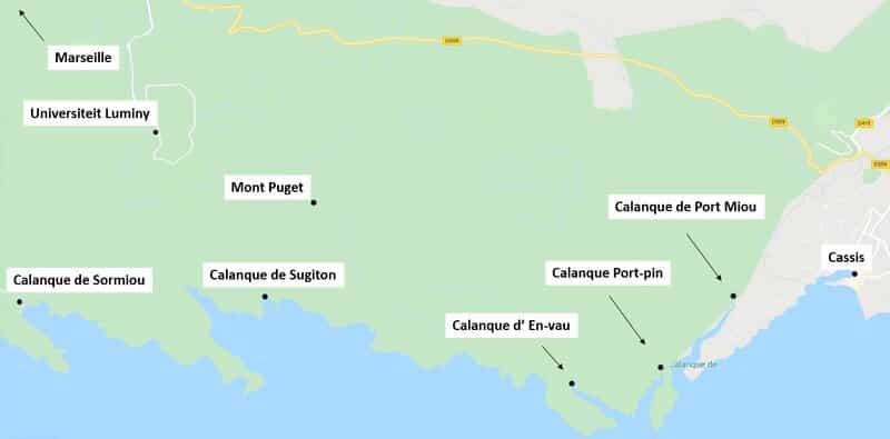 nationaal park calanques kaart
