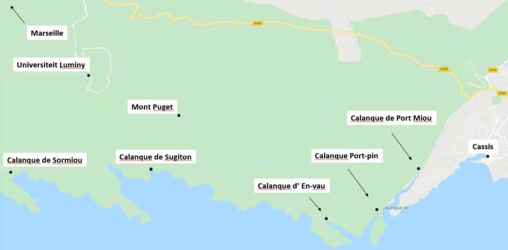 nationaal park calanques map